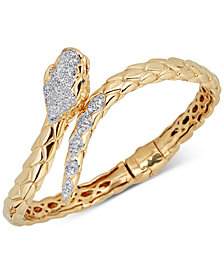 Diamond Snake Bypass Bangle Bracelet (1/2 ct. t.w.) in 14k Gold-Plated Sterling Silver