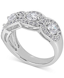 Diamond Halo Anniversary Band (1-1/2 ct. t.w.) in 14k White Gold