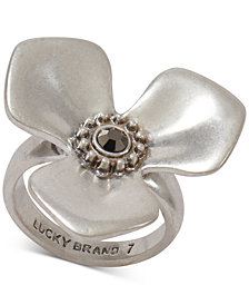 Lucky Brand Silver-Tone Crystal Flower Ring