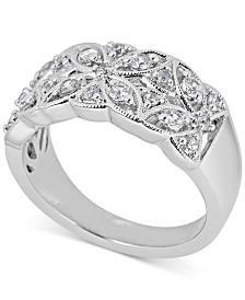Diamond Openwork Floral Statement Ring (1/2 ct. t.w.) in 14k White Gold