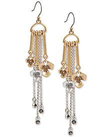 Lucky Brand Two-Tone Crystal Flower & Chain Fringe Drop Earrings