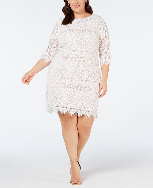 Plus Size Scalloped Lace Dress