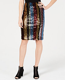 I.N.C. Rainbow Sequined Pencil Skirt, Created for Macy's