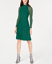 I.N.C. Illusion-Sleeve Sweater Dress, Created for Macy's