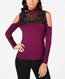 Thalia Sodi Mock-Neck Cold-Shoulder Sweater, Created for Macy's