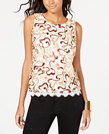 Thalia Sodi Embroidered Lace Top, Created for Macy's