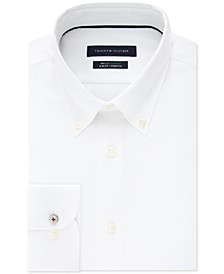 타미 힐피거 셔츠 Tommy Hilfiger Mens Slim-Fit TH Flex Non-Iron Supima Stretch White Dress Shirt,Bone