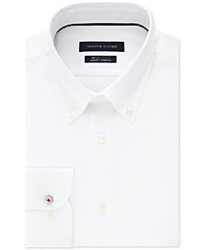 Tommy Hilfiger Men's Slim-Fit TH Flex Non-Iron Supima Stretch White Dress Shirt