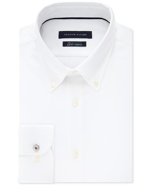 b05d5e8c2 ... Tommy Hilfiger Men's Slim-Fit TH Flex Non-Iron Supima Stretch White Dress  Shirt ...
