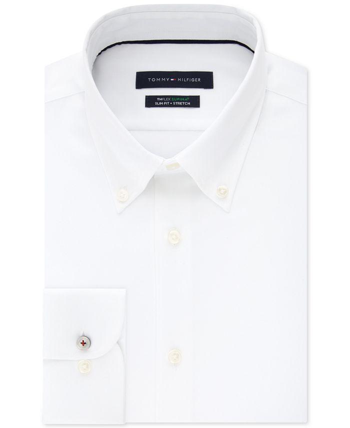 Tommy Hilfiger - Men's Slim-Fit TH Flex Non-Iron Supima Stretch White Dress Shirt