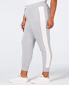 Calvin Klein Performance Plus Size Velour-Stripe Joggers