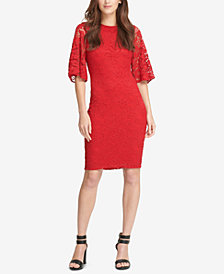 DKNY Bell-Sleeve Lace Sheath Dress, Created for Macy's