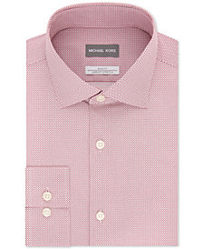 Michael Kors Men's Slim-Fit Non-Iron Airsoft Stretch Performance Pink Dot Check Dress Shirt