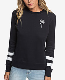 Roxy Burning Stars Striped-Sleeve Fleece Top