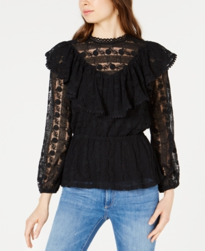Moon River CROCHETED LACE FLOUNCE TOP