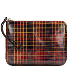Patricia Nash Cassini Tartan Plaid Leather Wristlet