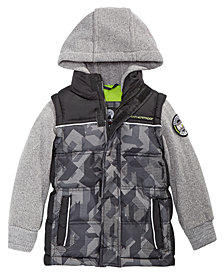 Weatherproof Little Boys Layered-Look Hooded Puffer Jacket