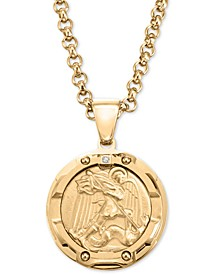 "Men's Diamond Accent St. Michael Medallion 24"" Pendant Necklace in Yellow Ion-Plated Stainless Steel"