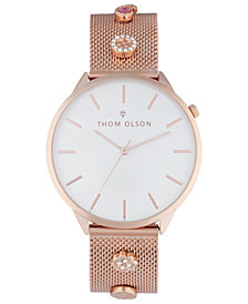 Thom Olson Women's Rose Gold-Tone Mesh Bracelet Watch 40mm