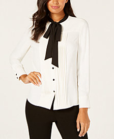 Anne Klein Pleated Bow Blouse