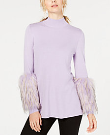 Alfani Faux-Fur-Cuff Mock-Neck Sweater, Created for Macy's