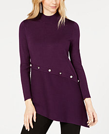 Alfani Asymmetrical Pearl-Trim Sweater, Created for Macy's