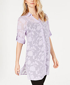 Alfani Burnout Jacquard Tunic, Created for Macy's
