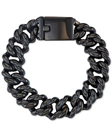 Men's Large Link Chain Bracelet in Stainless Steel and Black Ion-Plated Stainless Steel