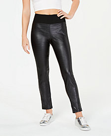 Material Girl Juniors' Textured Faux-Leather Leggings, Created for Macy's