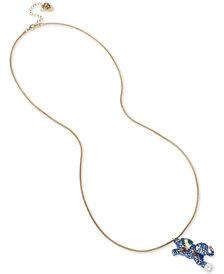 "Betsey Johnson Blue & Gold-Tone Elephant Pendant Necklace, 12"" + 3"" extender"