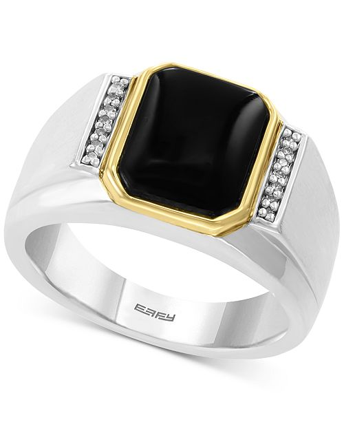 EFFY Collection EFFY® Men's Onyx (11 x 9mm) & Diamond Accent Ring in Sterling Silver & 14k Gold