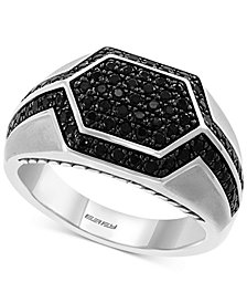 EFFY® Men's Black Sapphire Geometric Ring (1-1/2 ct. t.w.) in Sterling Silver