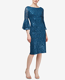 SL Fashions Bell-Sleeve Sequined-Lace Draped Dress