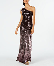 Vince Camuto Sequinned One-Shoulder Gown