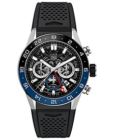 Men's Swiss Automatic Chronograph Carrera Heuer 02 Black Rubber Strap Watch 45mm
