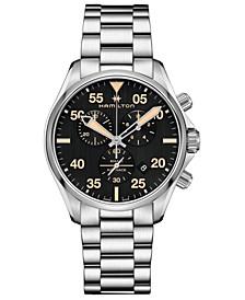 Men's Swiss Chronograph Khaki Pilot Stainless Steel Bracelet Watch 44mm