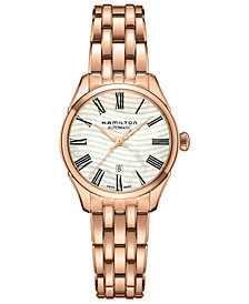 Hamilton Women's Swiss Automatic Jazzmaster Wave Rose Gold-Tone PVD Stainless Steel Bracelet Watch 30mm