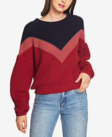 1.STATE Cotton Chevron-Colorblocked Crew-Neck Sweater