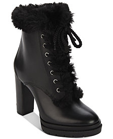 DKNY Darcy Lace-Up Waterproof Booties, Created For Macy's