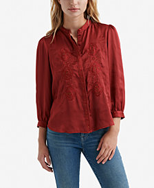 Lucky Brand Hammered Satin Embroidered Top