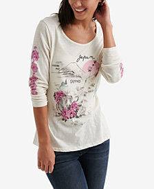 Lucky Brand Graphic Scoop-Neck Top