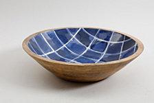 Gibson Mozambique Enamel & Wood Serving Bowl