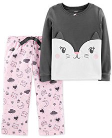 Carter's Toddler Girls 2-Pc. Fleece Cat Pajamas Set