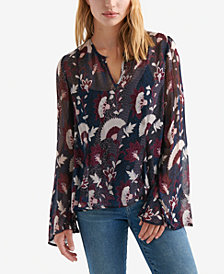 Lucky Brand Printed Angel-Sleeve Top