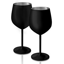 Artland Colton 17 oz. Black Matte Stemless Glasses, Set of 2