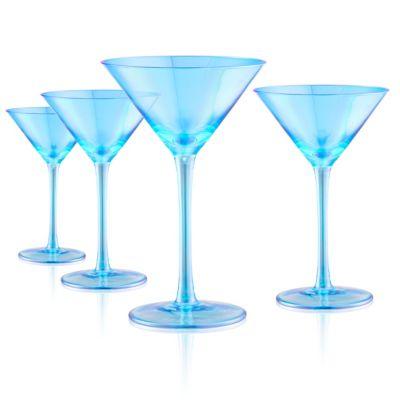 Set of 4 8oz. Luster Turquoise Martini Glasses
