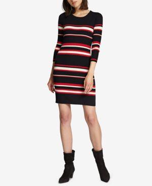 SANCTUARY Trailblaze Body-Con Cotton Blend Sweater Dress in Red Stripe