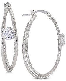 Giani Bernini Cubic Zirconia Double Hoop Earrings in Sterling Silver, Created for Macy's