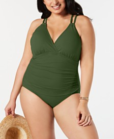 La Blanca Plus Size Solid Surplice One-Piece Swimsuit