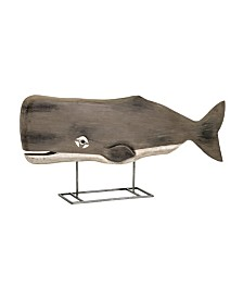 Imax Achilles Carved Wood Whale Statuary